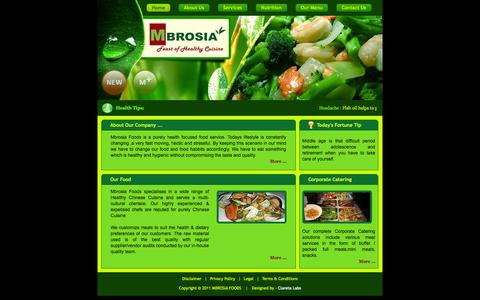 Screenshot of Home Page mbrosia.co.in - Mbrosia Foods  Pvt. Ltd. - captured Oct. 4, 2014