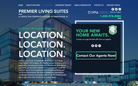 Screenshot of Locations Page premierliving.com - Birmingham, AL   Short-Term Corporate Suites   Premier Living - captured Sept. 29, 2018