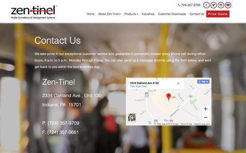 Screenshot of Contact Page zen-tinel.com - Contact   Zen-Tinel - captured Oct. 20, 2018