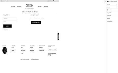 Screenshot of Login Page citizenwatches.com.au - Customer Login | Citizen Watches Australia - captured Nov. 6, 2016