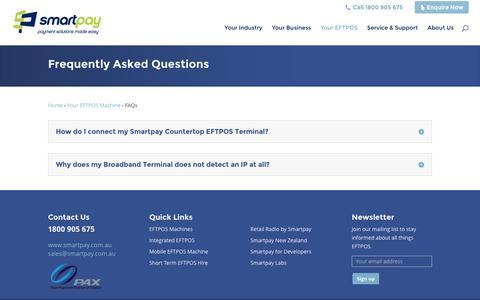 Screenshot of FAQ Page smartpay.com.au - FAQs | Smartpay Australia EFTPOS Solutions - captured Dec. 20, 2016