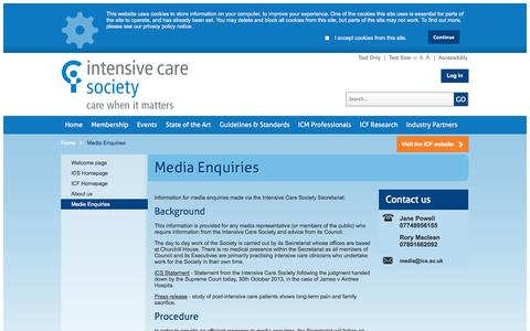 Screenshot of Press Page ics.ac.uk - The Intensive Care Society - Media Enquiries - captured Oct. 6, 2014