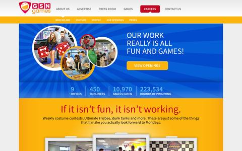 Screenshot of Jobs Page gsngames.com - Careers - GSN Games - captured Nov. 1, 2014
