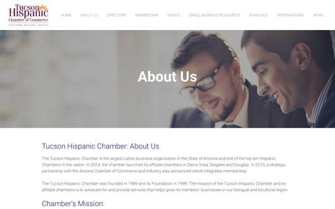 Screenshot of About Page tucsonhispanicchamber.org - About Us - Tucson Hispanic Chamber of Commerce - captured Oct. 18, 2018