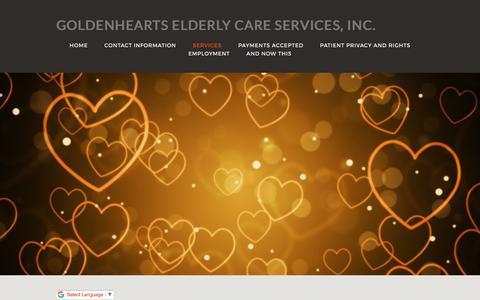 Screenshot of Services Page goldenelderlycare.com - Elderly Care, Home Care, Handicap Assistance: Bronx, NY: Goldenhearts - captured Aug. 26, 2017