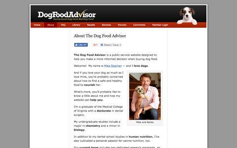 Screenshot of About Page dogfoodadvisor.com - About Mike Sagman and The Dog Food Advisor - captured Aug. 2, 2016