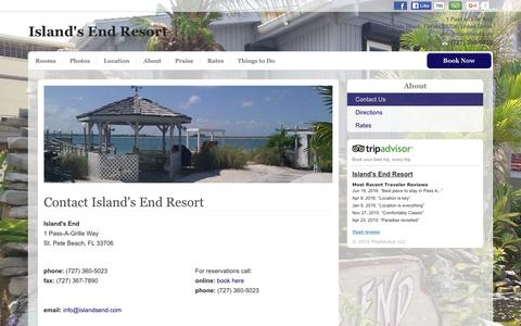 Screenshot of About Page islandsend.com - Contact Us - Island's End Resort - St. Pete Beach - United States - captured June 24, 2016