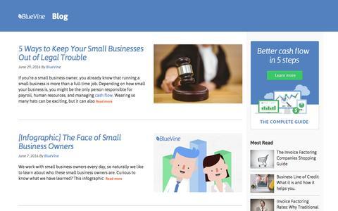 Screenshot of Blog bluevine.com - Small Businesses Resource Center - captured July 3, 2016