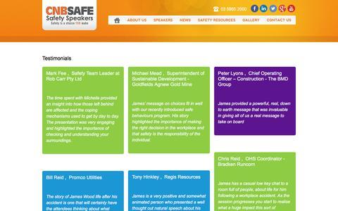 Screenshot of Testimonials Page cnbsafe.com.au - Testimonials - CNB Safe - captured Jan. 22, 2016