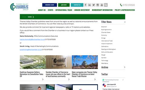 Screenshot of Press Page thamesvalleychamber.co.uk - News Updates | Thames Valley Chamber of Commerce - captured Feb. 2, 2018