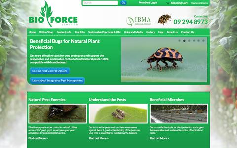 Screenshot of Home Page bioforce.co.nz - Bioforce - Biological Control of Plant Pests - captured Oct. 5, 2014