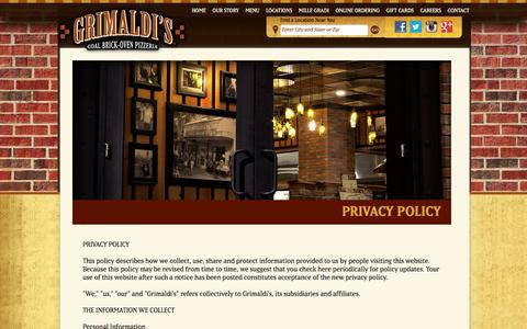 Screenshot of Privacy Page grimaldispizzeria.com - Grimaldi's Coal Brick-Oven Pizzeria with locations in Arizona, California, Colorado, Florida, Nevada, South Carolina and Texas - captured May 25, 2017