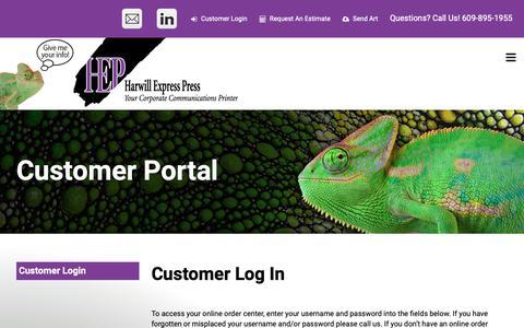 Screenshot of Login Page harwillexpresspress.com - Harwill Express Press : Customer Portal : Customer Login - captured Nov. 4, 2018