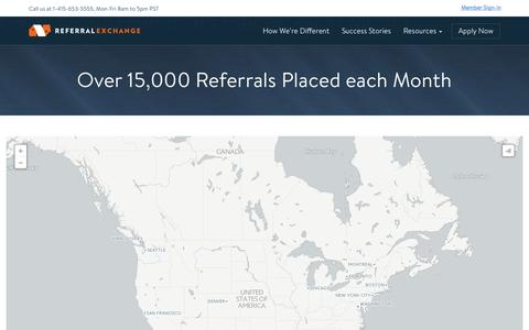 Screenshot of Maps & Directions Page referralexchange.com - Over 15,000 Referrals Placed each Month - ReferralExchange - captured Nov. 18, 2015