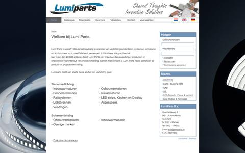 Screenshot of Home Page lumiparts.nl - LumiParts - captured Oct. 3, 2014