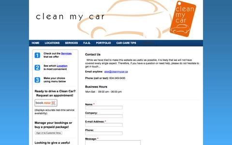 Screenshot of Contact Page ecofriendlycarwash.net - Contact - Your on-site car cleaning and detailing service in the Greater Vancouver area - captured Sept. 29, 2014