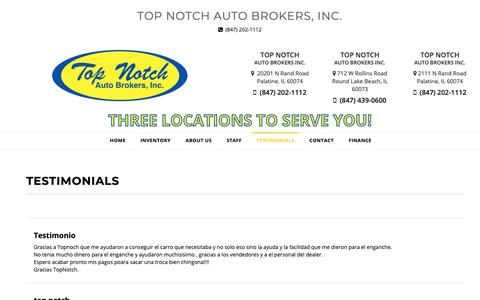 Screenshot of Testimonials Page topnotchcars.com - Customer Testimonials - Top Notch Auto Brokers, Inc. Palatine, IL - captured Oct. 19, 2018