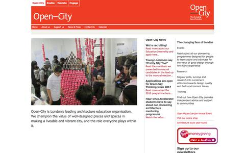 Screenshot of Home Page open-city.org.uk - Open-City the architecture education organisation - captured June 12, 2017