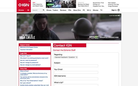 Screenshot of Contact Page ign.com - Contact the Editorial Staff - IGN - captured Dec. 2, 2015