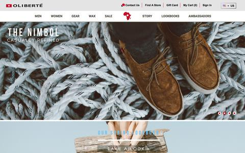 Screenshot of Home Page oliberte.com - Oliberté is the World's First Fair Trade Certified Footwear Factory – Fair Trade Shoes & Leather Goods Made in Africa. - captured June 18, 2015
