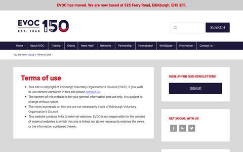 Screenshot of Terms Page evoc.org.uk - Terms of use - EVOC - captured Nov. 4, 2018
