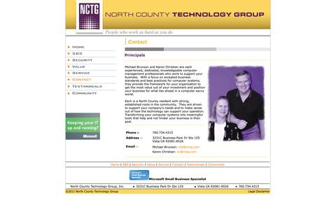 Screenshot of Contact Page nctg.com - North County Technology Group - Contact - captured Oct. 19, 2018