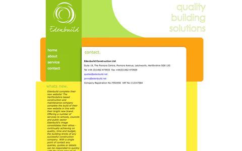 Screenshot of Contact Page edenbuild.net - Contact - captured Oct. 2, 2014