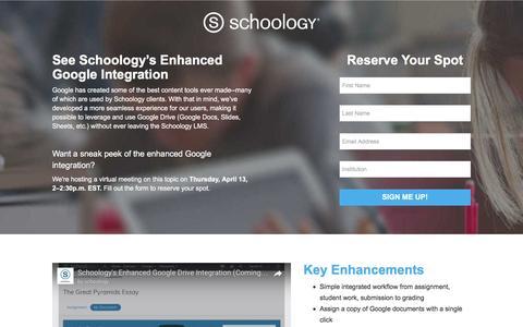 Screenshot of Landing Page schoology.com - Schoology Enhanced Google Integration - captured April 7, 2017
