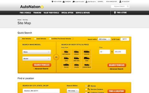 Screenshot of autonation.com - Sitemap | AutoNation | America's Largest Auto Retailer - captured Oct. 3, 2015
