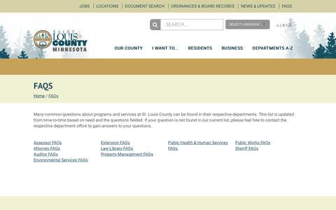 Screenshot of FAQ Page stlouiscountymn.gov - FAQs - captured Sept. 21, 2018