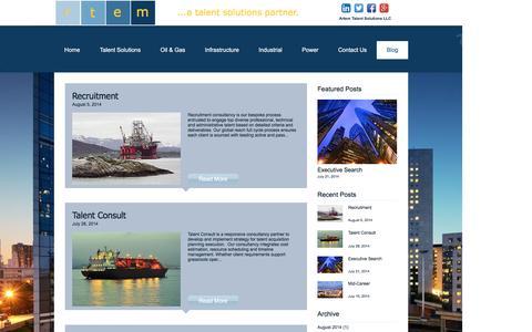 Screenshot of Blog artemtalentsolutions.com - Artem Talent Solutions | Oil & Gas, Infrastructure, Industrial, Power  | Blog - captured Nov. 21, 2016