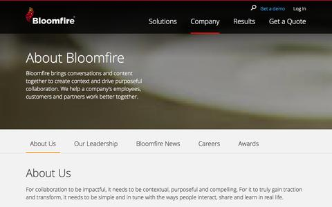 Screenshot of About Page bloomfire.com - How We Built Company Management Software | Bloomfire - captured Oct. 28, 2014