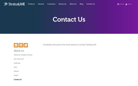 Screenshot of Contact Page stratuslive.com - Contact Us - StratusLIVE - captured May 13, 2018