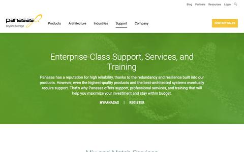 Screenshot of Support Page panasas.com - Enterprise-Class Support, Professional Services, and Training | Panasas - captured Dec. 7, 2018