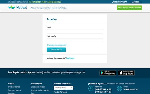 Screenshot of Login Page nautal.es - Alquiler de barcos | Nautal - captured June 25, 2017
