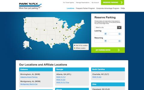 Screenshot of Locations Page pnf.com - National Airport Parking, Long Term Parking & Economy Parking | Park 'N Fly - captured Sept. 23, 2014