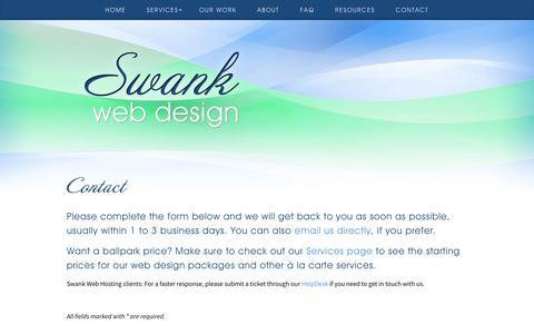 Screenshot of Contact Page swankwebdesign.com - Contact - Swank Web Design - captured Nov. 16, 2017