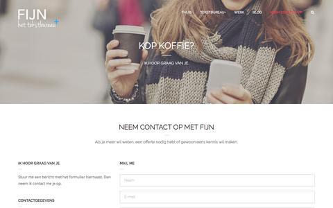 Screenshot of Contact Page fijn.net - Contact met Fijn | het tekstbureau+ | Fijn - het tekstbureau+ - captured Feb. 10, 2016