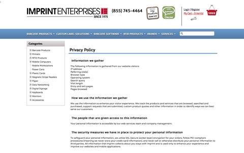 Screenshot of Privacy Page imprint-e.com - Imprint Enterprises Privacy Policy - captured Oct. 4, 2014