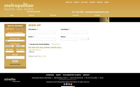 Screenshot of Signup Page metropolitanbostonrealestate.com - Sign Up - captured Dec. 10, 2018