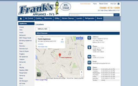 Screenshot of Contact Page Locations Page franksappliance.com - Contact Frank's Appliance Service in Massachusetts - captured June 23, 2016