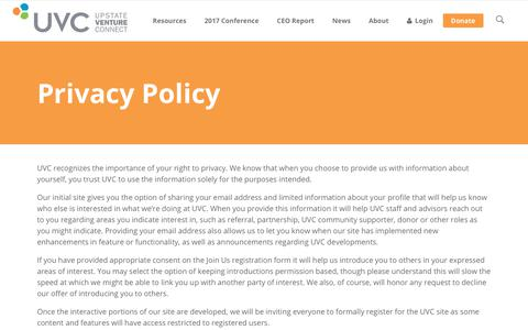 Screenshot of Privacy Page uvc.org - Privacy Policy | Upstate Venture Connect - captured July 7, 2017
