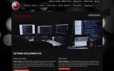Screenshot of Developers Page red.com - Developers - RED Digital Cinema - captured Oct. 27, 2014