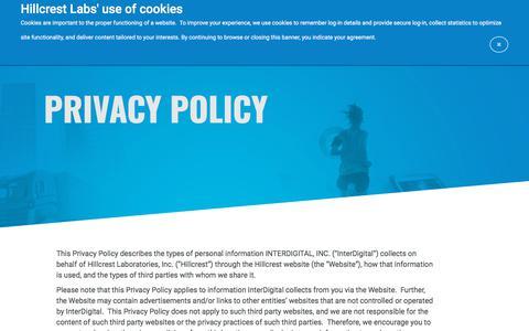 Screenshot of Privacy Page hillcrestlabs.com - Hillcrest Labs - captured July 12, 2018
