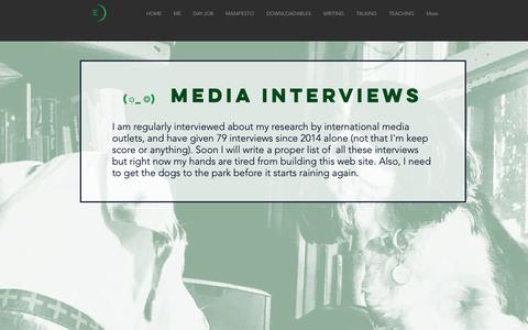 Screenshot of Press Page emmajane.info - Emma A. Jane | MEDIA INTERVIEWS - captured Oct. 26, 2018