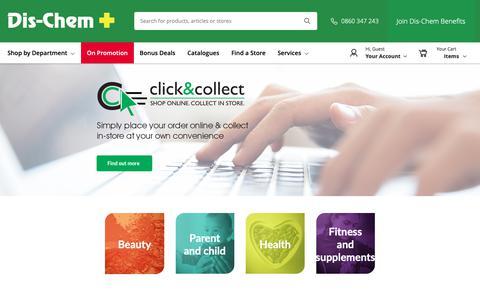 Screenshot of Home Page dischem.co.za - Homepage / Dis-Chem - Pharmacists who care - captured Jan. 15, 2019