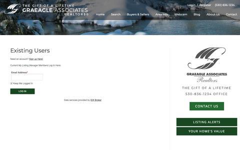 Screenshot of Login Page graeagleassociates.com - Search Graeagle Properties • Graeagle Real Estate - Graeagle Associates - captured Dec. 13, 2018