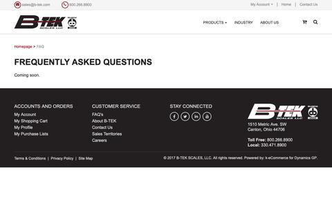 Screenshot of FAQ Page b-tek.com - FAQ - captured Sept. 27, 2018