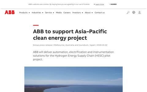 Screenshot of Support Page abb.com - ABB to support Asia–Pacific clean energy project - captured Nov. 9, 2019