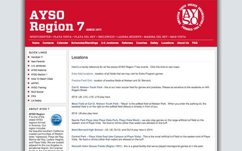 Screenshot of Locations Page ayso7.org - Locations | AYSO Region 7, Westchester, CA - captured Nov. 2, 2014